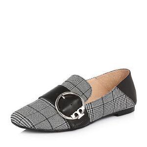 Tata/他她2018春专柜同款牛皮拼接格子布方头女乐福鞋FLD01AQ8