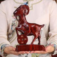 家居摆件生肖招财羊木质三羊开泰红木工艺品实木雕刻
