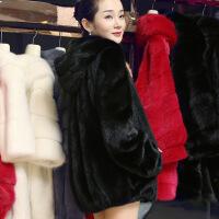 反季海宁2018新款韩版仿 皮草外套女貂皮大衣女整貂中长款裘皮 X
