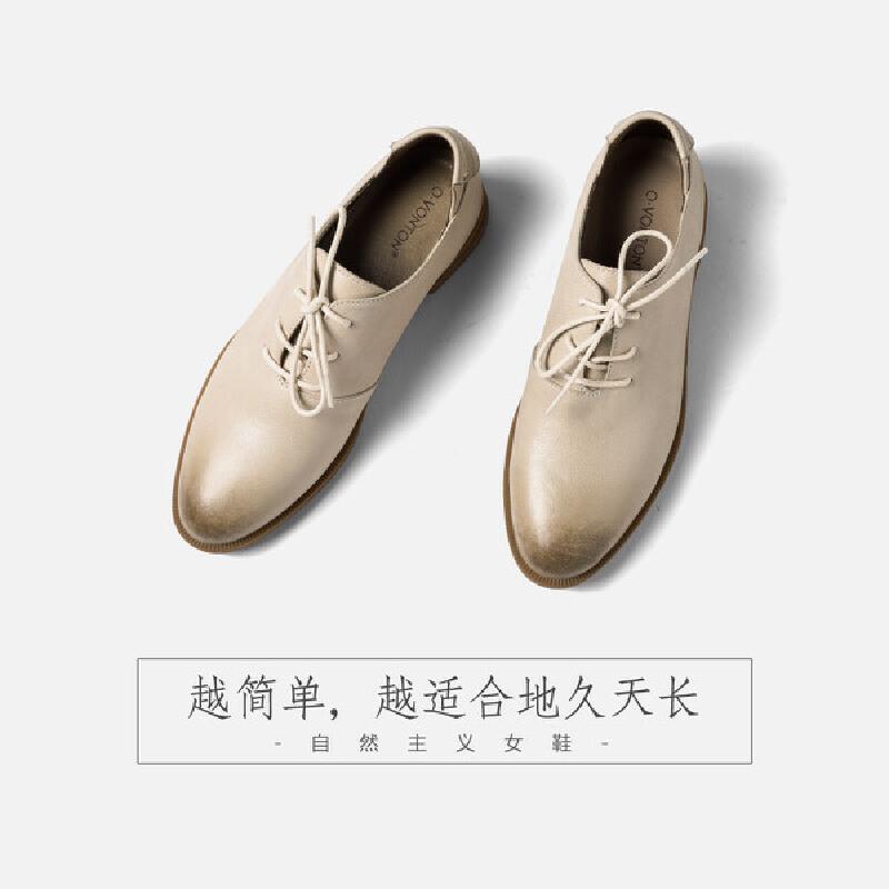 青婉田女士软妹少女小皮鞋2018新款 复古个性系带单鞋女真皮鞋子尺码正常,脚感舒适,头层牛皮