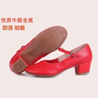舞蹈鞋女 四季红交谊广场舞跳舞鞋 软底中跟新款夏季广场舞鞋