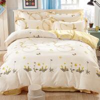 纯棉四件套床上用品1.8m床品宿舍床单被套三件套1.5米 黄色 巴黎写意