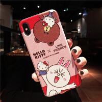 凯蒂猫浮雕iphone xs max苹果x手机壳xr可爱8plus卡通7女6s软壳女 6/6s G浮雕-熊和兔