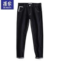罗蒙(ROMON)休闲裤男春季黑色工装裤直筒长裤子修身小脚裤男士西裤