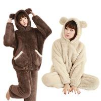 冬季加厚长毛绒卡通棕色狗熊连帽情侣男女睡衣法兰绒家居服套装