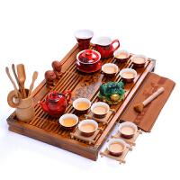 茶具套�b家用 陶瓷冰裂紫砂功夫茶杯子整套 ��木茶�P茶海 2件