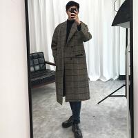 2018新款冬季韩版情侣毛呢大衣男士中长款落肩格子呢大衣学生宽松过膝风衣