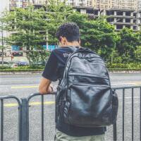 819背包日本双肩包男皮包PU电脑旅行包韩国时尚潮流学生书包原宿 黑色 现货
