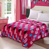 冬季加厚法莱绒法兰绒毛毯珊瑚绒毯子单双人床单毛巾被学生空调毯 紫色 精致指甲