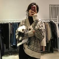 韩国chic好质量加厚千鸟格V领单排扣宽松气质针织开衫毛衣外套女