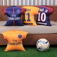 枕头沙发抱枕坐垫办公腰垫17-18赛季巴黎迪马利亚内马尔创意球衣印花抱枕 球衣抱枕