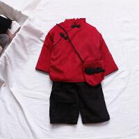 送包包 过年两件套秋冬女童宝宝新年套装 婴儿中国风唐装拜年服
