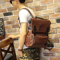 男士个性背包 旅游休闲包大学生书包 电脑双肩包旅行包行李包潮流 咖啡色