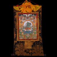 西藏手工双层装裱镀金挂画像藏传绿度母二十一度母唐卡佛像装饰画
