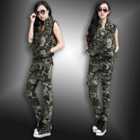 军迷野战迷彩服套装女士多口袋马甲长裤两件套户外春夏作训服