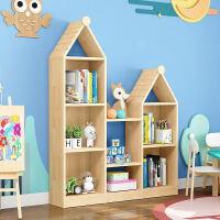 实木落地儿童书架多层创意书架绘本架简约现代宝宝玩具收纳架原木