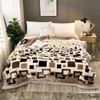 毛毯加厚双层冬季被子珊瑚绒毯子单人双人学生宿舍婚庆盖毯 白色 方块风情 加厚双层200X230cm 12斤