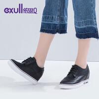 依思q秋季新款内增高坡跟系带休闲单鞋女鞋