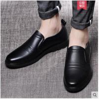 富贵男鞋夏季男士休闲皮鞋英伦真皮懒人鞋商务软底中老年爸爸鞋子