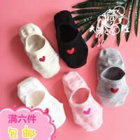 夏季袜子女棉质短袜薄款隐形船袜低帮浅口爱心硅胶防滑糖果色女袜
