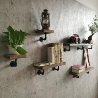 一字搁板铁艺书架墙面水管装饰架 墙上置物架复古墙壁实木隔板壁挂