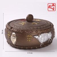 防风复古烟灰缸大号创意烟盅树脂烟缸密封摆件茶桌客厅家用带盖子