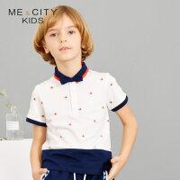 【1件2.5折到手价:48.8】米喜迪mecity童装19夏装新款男童下摆撞色拼接针织翻领恤