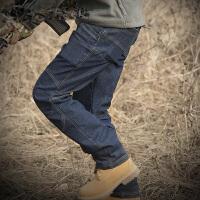 春秋战术牛仔裤男弹力修身多口袋户外工装裤军迷通勤作训裤