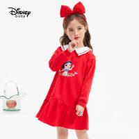 超品返�觥�4折�A估�r:81.7元】迪士尼女童�t色�B衣裙2021春�b新款�和�����洋�獍菽攴�公主裙子
