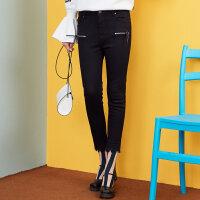 【2件3折到手价:59.7】美特斯邦威冬装新款黑色牛仔长裤女打底裤韩版百搭潮商场款