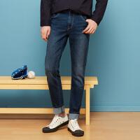 美特斯邦威旗下 4M牛仔裤男士春季新品男精致织带细节水洗弹力牛仔长裤
