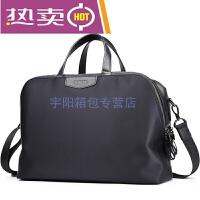 新款男士青年旅行袋包 尼龙布防水手提包斜跨横款短途行李包商务休闲包 黑色