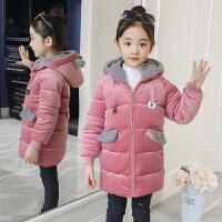 女童金丝绒棉衣冬装新款儿童外套中大童棉袄中长洋气羽绒 粉