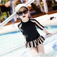 儿童泳衣女童套装女孩分体中大童学生公主裙式长袖防晒温泉韩国