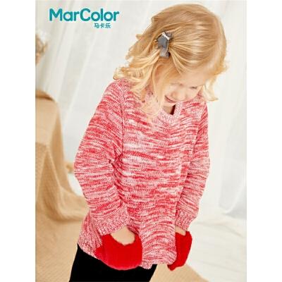 巴拉巴拉旗下马卡乐冬季女宝宝冬小兔毛贴袋针织套头毛衫 个性口袋 舒适保暖