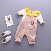女童背带裤套装0-1-3岁女宝宝婴儿衣服秋装长袖两件套小童连体衣2