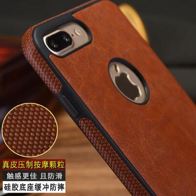 苹果7plus手机壳真皮车载磁吸iPhone6s保护套6p全包防摔8plus 商务棕【苹果6P/6SPlus】5.5寸 送钢化膜