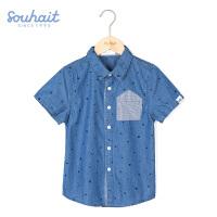水孩儿souhait男童衬衫牛仔半袖短衬上衣夏季新款宝宝短袖衬衫ASXXM554