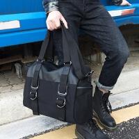 新款手提包男 帆布男士包包 商务公文包休闲单肩斜挎包出差旅行包
