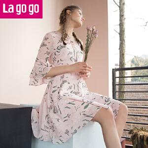 【清仓3折价173.7】Lagogo/拉谷谷2019年夏新款时尚淑女喇叭袖印花连衣裙HALL303G97