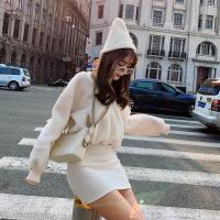 №【2019新款】冬天美女穿的卫衣裙子新款秋v领性感修身收腰长袖加厚绒羊毛包臀连衣裙女