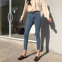 紧身牛仔裤女显瘦韩版学生2018新款女装春装小脚铅笔裤高腰九分裤