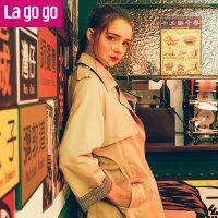【清仓3折价329.7】Lagogo2019春季新款时尚翻领港味复古风衣女中长款ins休闲外套