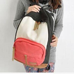 中学生撞色背包 女韩版潮书包 帆布休闲双肩包