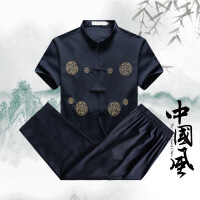 中老年男士唐装短袖夏季汉服爸爸中国风上衣盘扣爷爷民族服装中式