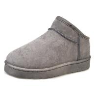 雪地靴女短筒防滑韩版加厚百搭低帮简约灰色学生平底保暖加绒棉鞋