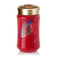 乾唐轩活瓷杯中微笑随身杯蝴蝶贴花创意陶瓷茶水杯子