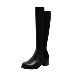 WARORWAR法国新品YG14-18-70冬季韩版反绒粗跟鞋高跟鞋女鞋潮流时尚潮鞋百搭潮牌弹力靴靴子骑士靴长靴
