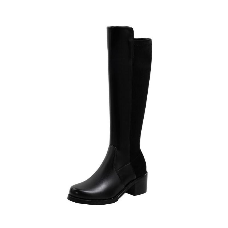 WARORWAR法国2019新品YG14-18-70冬季韩版反绒粗跟鞋高跟鞋女鞋潮流时尚潮鞋百搭潮牌弹力靴靴子骑士靴长靴