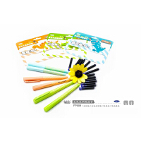 小白点文具 可擦换囊钢笔套装FP609 2支直液式彩色钢笔+14支蓝色墨囊/创意学生学习办公用品儿童练字写作业考试绿色
